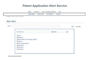 Patent Application Alert Service